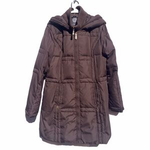 Vince Camuto puffer coat down jacket brown hood